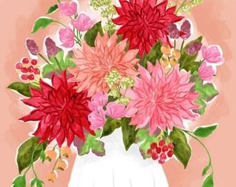 Dahlia Bouquet - floral art print