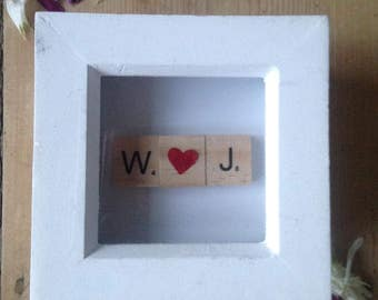 Personalised small scrabble frame, scrabble wedding gift, scrabble gift, scrabble art, scrabble picture, valentines gift, couples gift