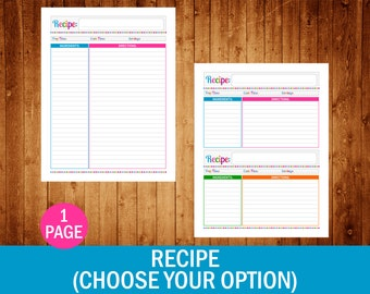Recipe Page (Choose Your Option) - PDF Printable