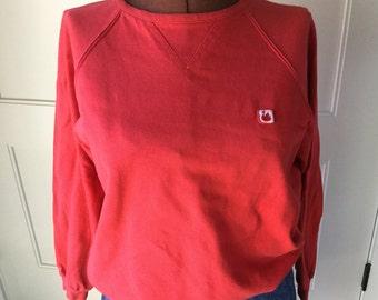 70s Retro red/orange Gloria Vanderbilt crewneck sweatshirt pullover T-shirt