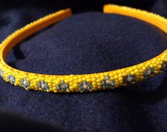 Yellow and blue beaded headband