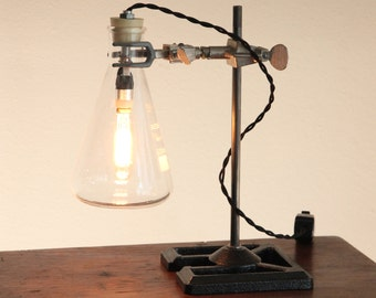 Industrial science lamp steampunk desk lighting laboratory chemistry apothecary biology cool gift Edison bulb Erlenmeyer flask glass