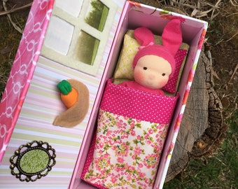 Waldorf Pocket Doll Baby Bunny with House