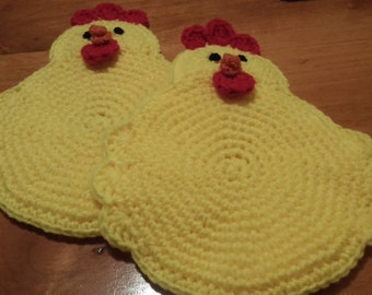 Set of Two - Crochet Double Layer Baby Chick Potholders