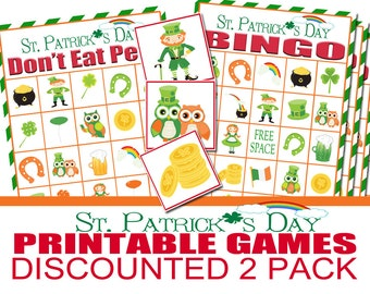 St. Patricks Day Class Party Game Two Pack, St. Patty's Day Party, St. Patrick's Bingo,  St. Patrick's Don't Eat Pete, Printable Games