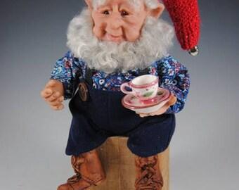 "Nisse, Tomte, Elf Doll, Fantasy Art Doll, Handmade Nisse, Fairy, ""Brewster the Secret Keeper"""