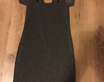 Black gold glitter dress square neck