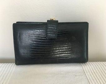 Vintage Neiman Marcus Black Leather Wallet Kisslock Coin Purse