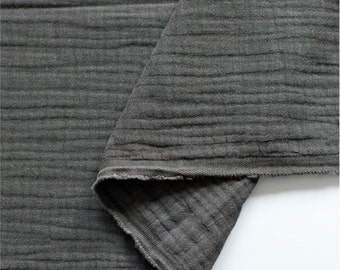 Crinkled Triple Gauze Fabric Charcoal By The Yard