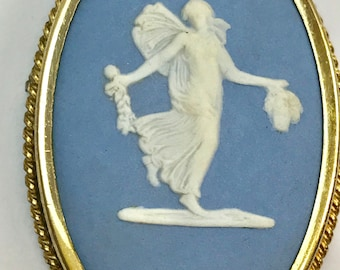 Wedgwood Blue and White Greek Pendant/Brooch