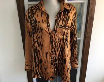 Vintage Tiger Blouse Size Medium 1980s