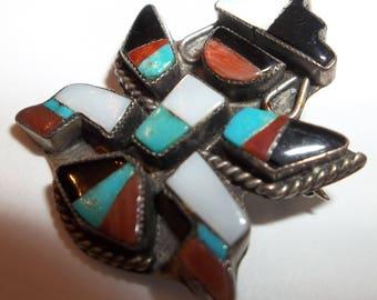 OLD Vintage Zuni Multi-Color Mosaic Inlay Silver RAINBOW MAN Pin