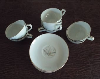 7 Cups and Saucer Kaysons Golden  Rhapsody China Teacups 1961, Japan, Vintage Tea Service, White Cups with gold, Replacement pieces