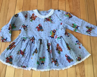 Vintage 1980s Toddler Girls Chambray Blue Circus Clown Dress! Size 2