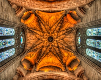 Cathedral Ceiling, Stained Glass Windows - Fine Art Photographic Print