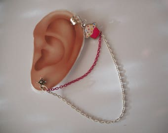 Cute Cup Cake Fancy Ear Cuff with Pink  & White Chain