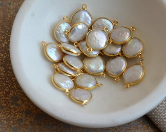 Fresh Water Pearl Connector Bead, Gold Vermeil Bezel Rim Setting, Pearl Connector Link, Gold Vermeil Beads,Pearl Bezel Beads,Pairs,SAR17-106