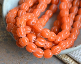 Orange Beads, Melon Beads, Glass Beads, Lampwork Glass, 10mm Beads, Fluted Lamp Work Beads, Indonesian Beads, One Strand,  BB17-0127A