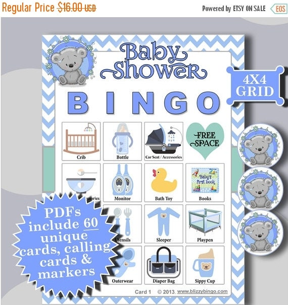 One day sale baby shower boy teddy 4x4 bingo 60 by for 4x4 bingo template