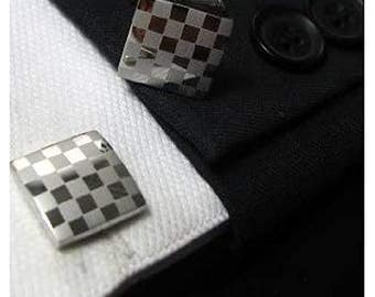 Keep It Checkered Silver Squares Cufflinks Cuff Links