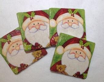 Natural Stone Santa Coasters, Beverage Coasters, Christmas Coasters, Beer Coasters