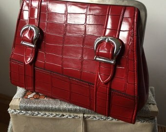 1960s MacLaren Mock Croc Red Patent Shoulder Bag- Kelly Bag Style- GC.