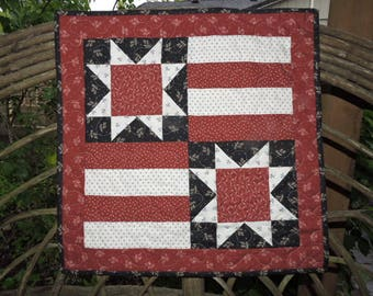 "Mini Patriotic Quilt or Wall Warmer  in Liberty Gatherings Collection (Red, Off White, Dark Blue)   20"" x 20"""