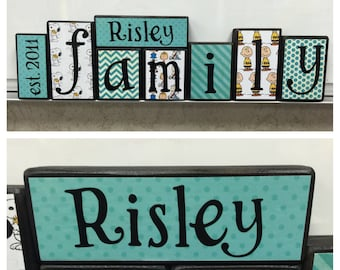 Family blocks - est. year, last name, FAMILY- Snoopy themed