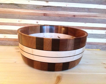 Wood Bowl handcrafted from Saple, Maple, and Walnut Woods- 16SPMPWB001