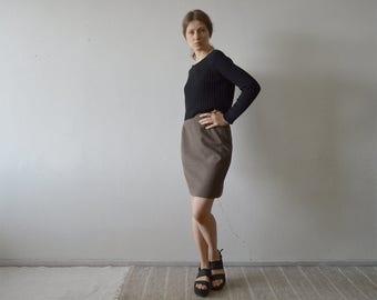 vintage brown grid plaid high waist pencil  mini skirt with elastic waist at sides medium