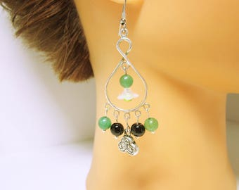 Oriental Earring Dangles Silver Chandelier Green And Black Beaded Earrings