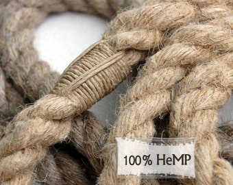 Natural HEMP Rope Dog Leash 5' ft Long Dog Leash or 6-Way 6 ft Multi-Use Dog Lead Natural Whipping