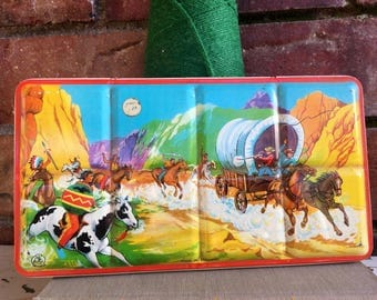 1960's Litho Watercolor Paint Set Tin, Cowboys & Indians, Native American, Wild Wild West, Made in England