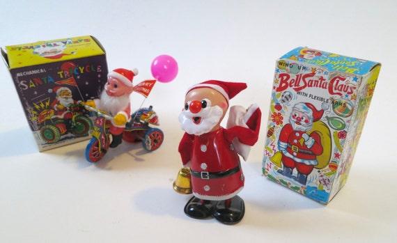 2 Vintage Wind-Up Santas