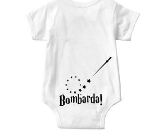 Baby onesie | Bombarda is the incantation of a charm used to provoke small explosions | Harry Potter
