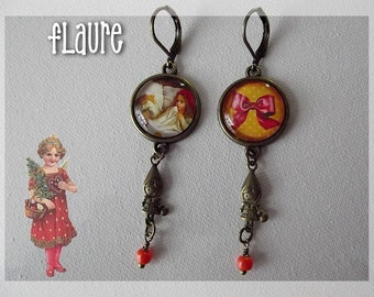 "Cabochons earrings ""The great evil wolf and the red hood"""