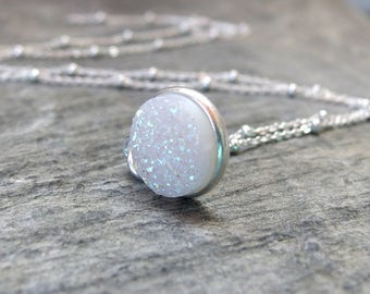 Druzy necklace Bridesmaid necklace Maid of honor gift Bridesmaid Personalized jewelry Mother of the bride groom gift bridesmaid gift wedding