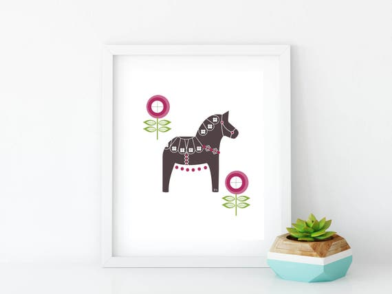 Dala Horse, Printable, Floral Dala Horse Print, Art Print, Wall Art, Black and White, Wall Decor, Nursery Wall Art, Swedish Horse, Magenta