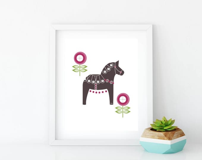 Dala Horse, Printable, Floral Dala Horse Print, Art Print, Wall Art, Black and White, Wall Decor, Nursery Wall Art, Swedish Horse, Magenta