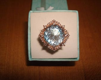 Diamond Cut Genuine Blue Topaz And White Sapphire 14k Rose Gold / 925 Sterling Silver Ring Size 6