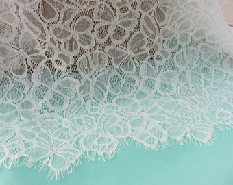 Butterfly Lace ,Chantilly Eyelash Lace Trim, Chantilly Lace Fabric, 59 inches Wide for Veil, Dress, Costume, Craft Making, 1Meter/piece
