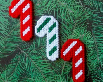 Plastic Canvas: Mini Christmas Candy Cane Magnets (set of 3 candy canes)