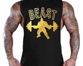 Beast Reflective Gold  T-Shirt Bodybuilding Tank Top All size S-3XL