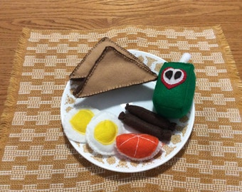 Sunny Side Eggs with Sausage! Felt food, Toys, Toddler toys, Educational toys,