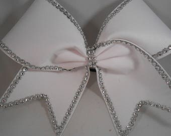 Cheer Bow White Grosgrain with Silver Bling Stiff by BlingItOnCheerBowz