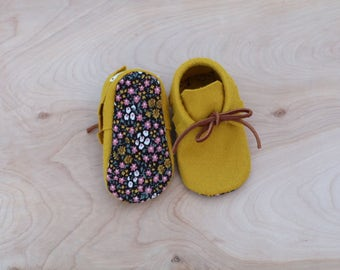 Sunrise Floral Wool Moccasin Booties