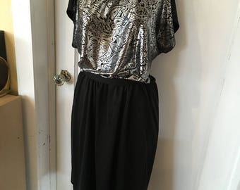 Vintage silver and Black 1980's dress by Lady Ronte'.