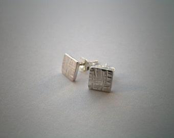 Sterling Silver Earrings - Patterned Square Earrings - Stud Earrings - Small Silver Earrings  - Handmade Earrings