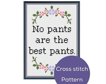 No Pants Cross Stitch Pattern