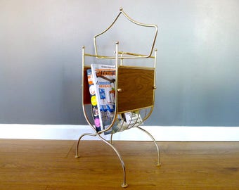 Vintage Gold Metal and Faux Wood Magazine Rack
